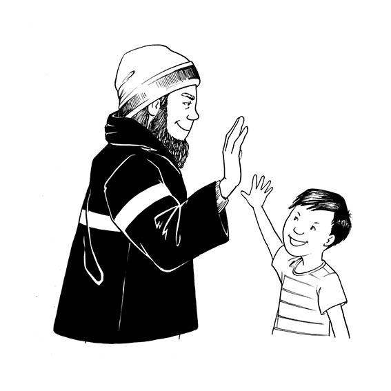 Yusuf and Papa high-five each other.