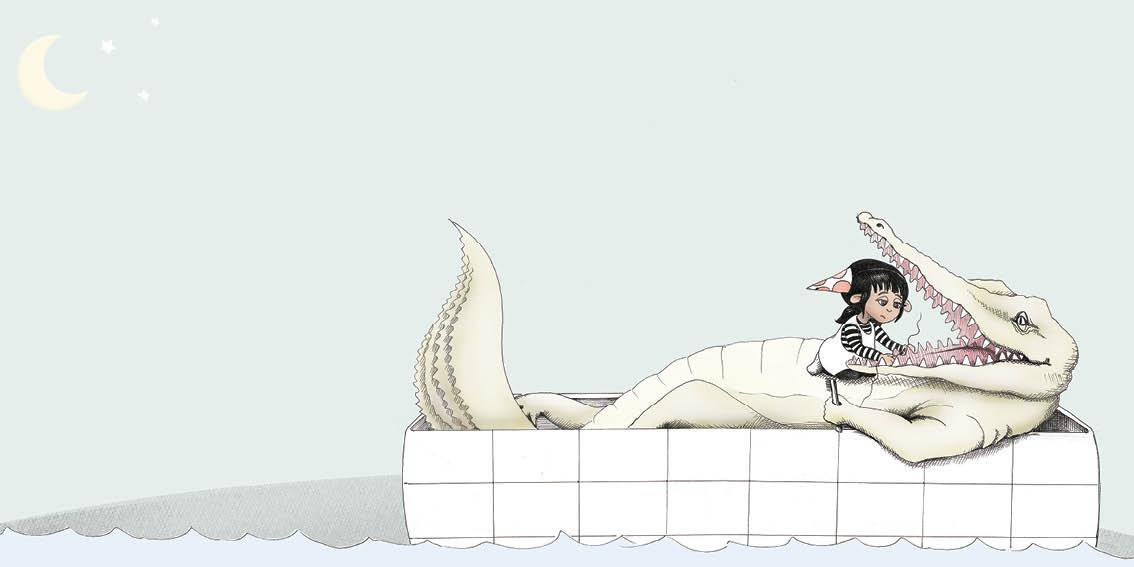 A giant crocodile lies in the bath. Maddy helps him floss his teeth.